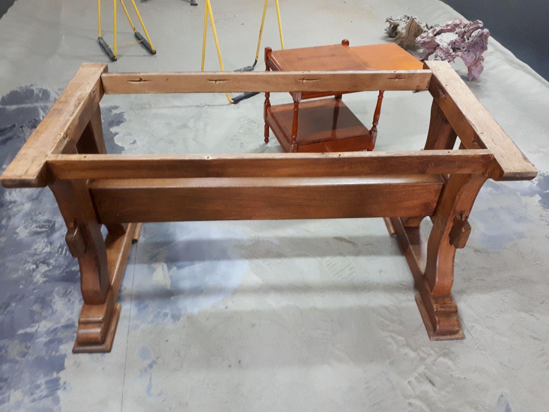 Aerogommage Decapage table en bois 78 Yvelines Avant